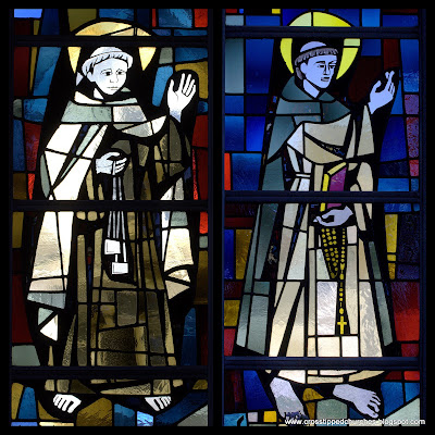 Modern stained glass window collage with Saint Simon Stock on the left and Saint Dominic on the right.