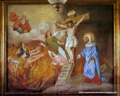 Picture of Purgatory with Jesus on the Cross.