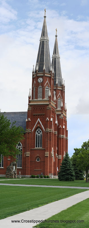 The front and twin spires of Saint Mary Immaculate Conception Church