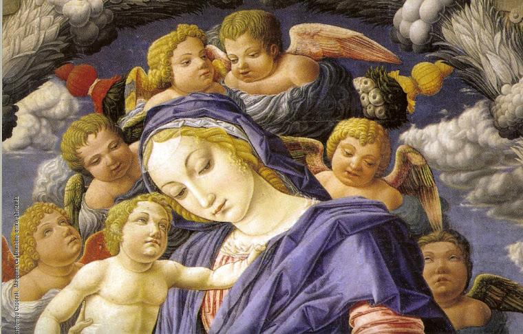 Madonna col bambino entro ghirlande