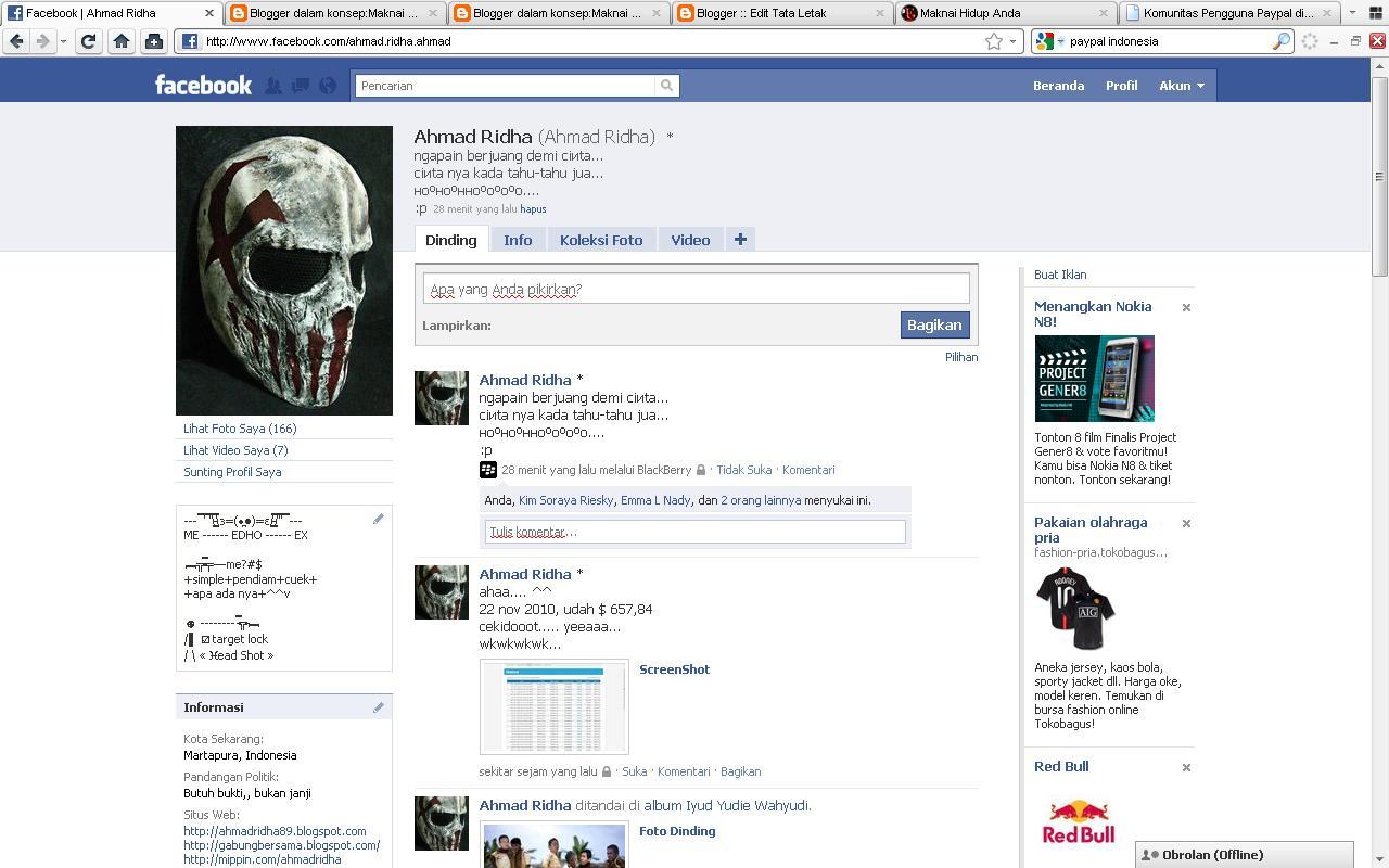 Update Status Facebook melalui BlackBerry