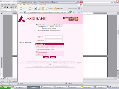 axis bank - phishing site login page