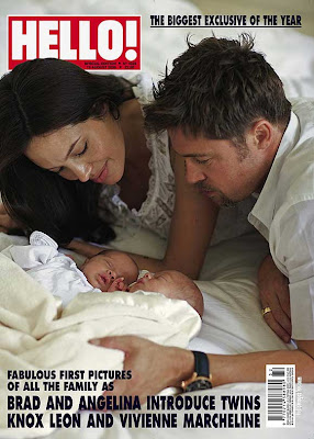 Hello Magazine showing the Brad, Anjelina's Twins Photos - Vivienne, Knox