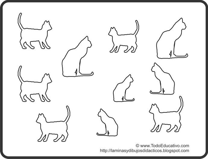 Didactic educational prints and drawings dibujo de gatos - Siluetas para imprimir ...