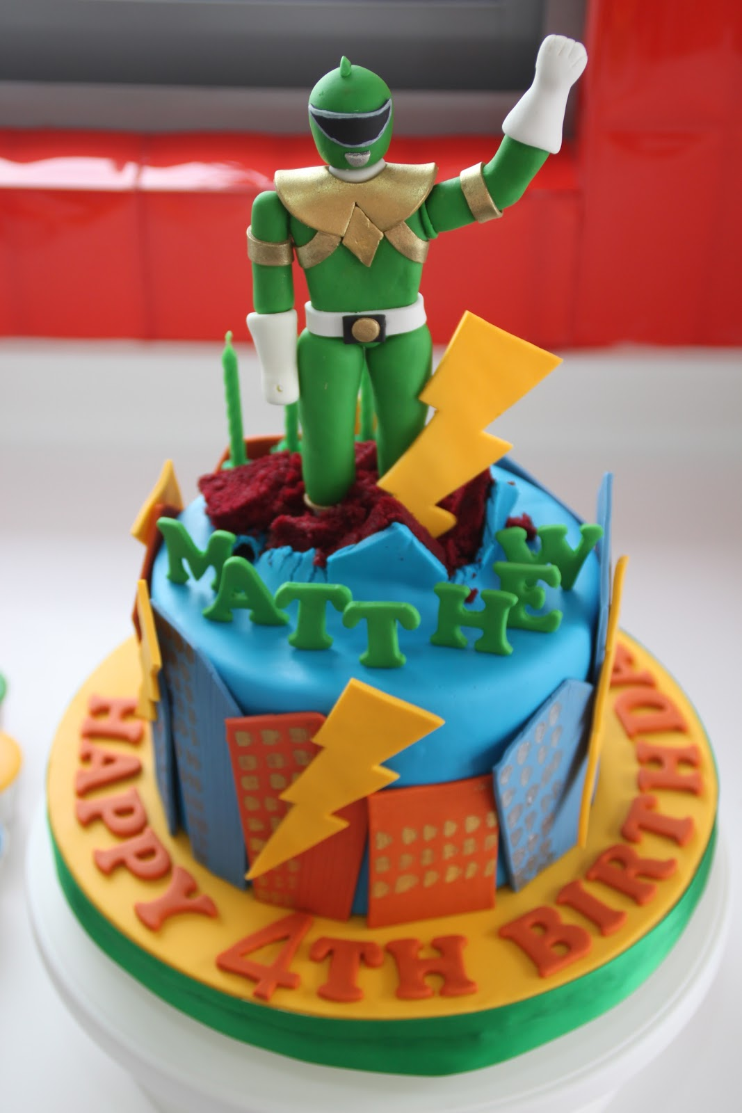 Power Ranger Cake and Cupcakes