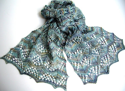 Short Rows in a Scarf at Nine Rubies Knitting