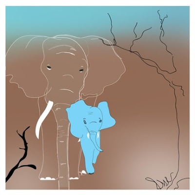 blue sky baby elephant illustration art indigo sky