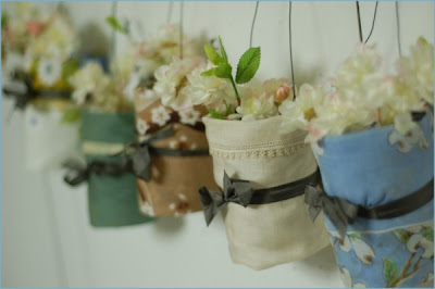 hankercheif hanging vase craft tutorial shabby chic