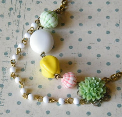colorful vintage retro inspired kitsch multi layered  flower necklace