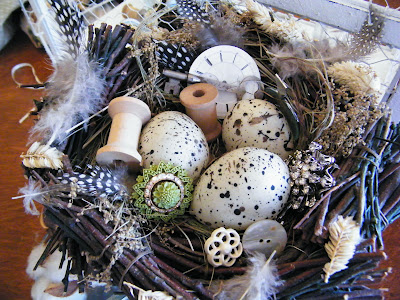 bird nest shabby chic vintage bobbles