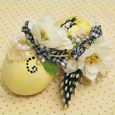 yellow shabby chic decorated eater eggs