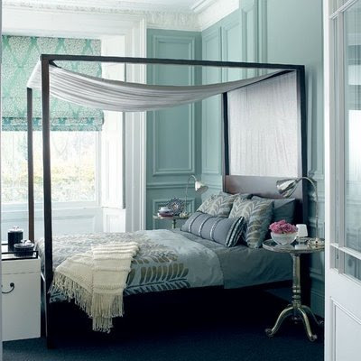 romantic blue white canopy romantic beach bedroom