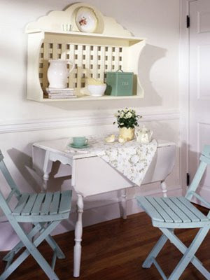 shabby chic aqua blue shelf chairs nook