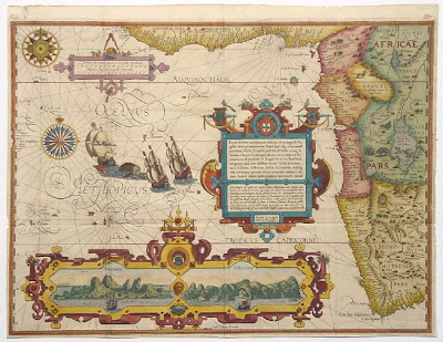 Antique Map of West Africa by Linschoten