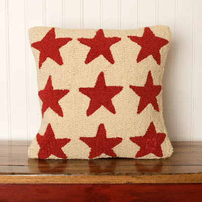 hudson goods vintage style red cream star stars country pillow