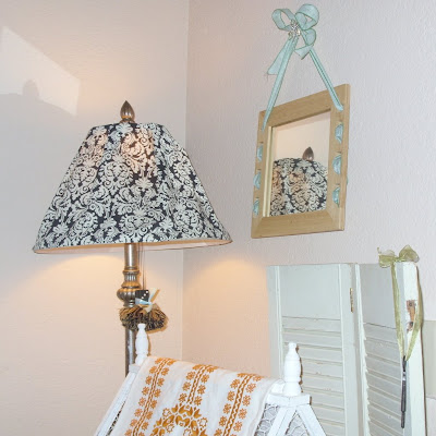 shabby chic damask cottage black and white fabric covered lamp
