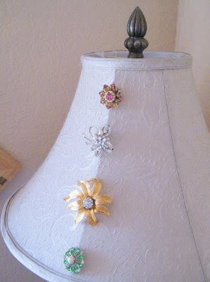 vintage brooch jeweled shabby chic cottage diy lamp shade lampshade