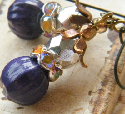 earrings, jeweledambrosia, jeweled ambrosia, plum, purple, vintage inspired brass