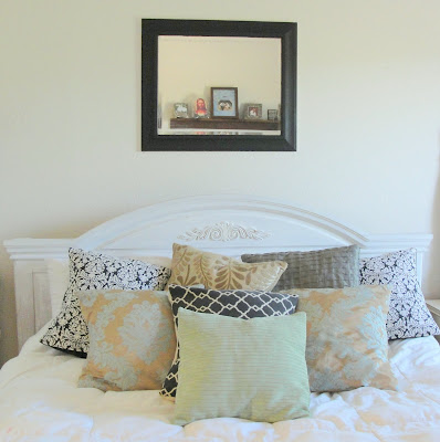 black white bedroom makeover, diy, headboard, paint damask mirror
