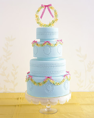 blue pink yellow garland spring wedding cake