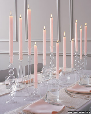 pink candle taper centerpiece wedding formal event decorating