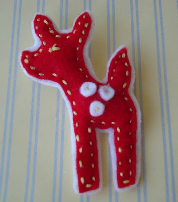 red felt deer brooch handmade