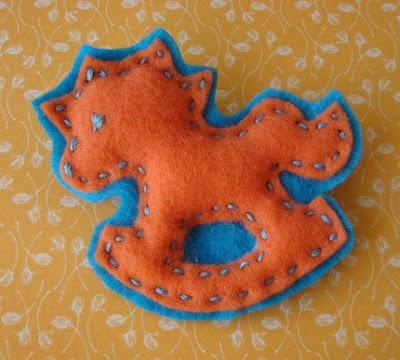 orange, blue, rocking horse, felt brooch, kid, cute