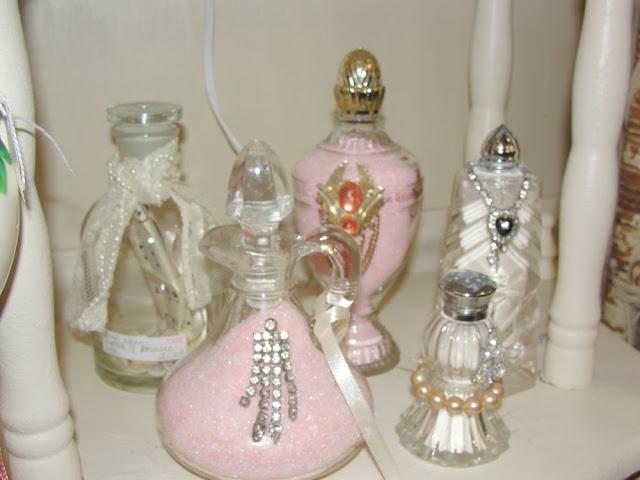 pink glitter jeweled vintage rhinestone perfume salt shaker bottles