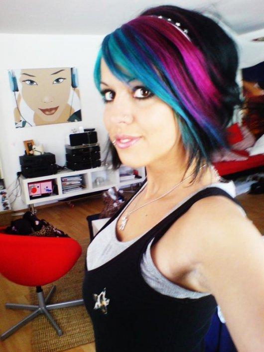 Highlights On Black Hair. black hair with blue
