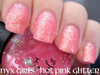 Pink Nail Polish. CN217 Hot Pink Glitter - 3