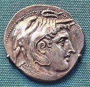Moneda de Ptolomeo que representa a Alejandro con una piel de elefante, símbolo de sus conquistas e