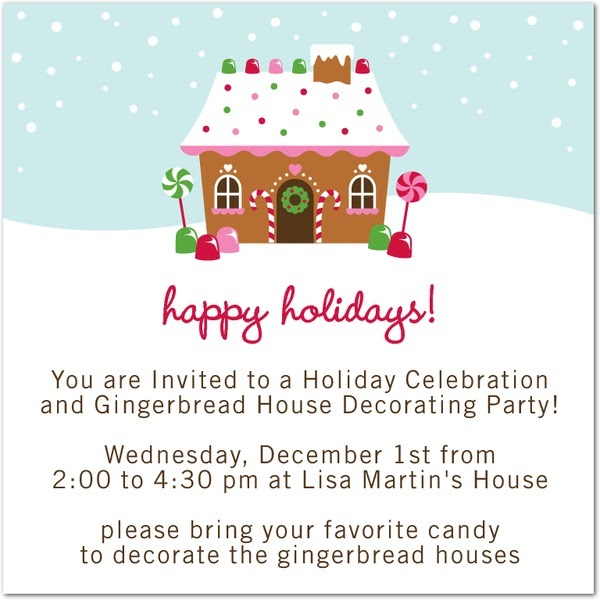 Our next chapter gingerbread house party december 1st Gingerbread house decorating party invitations