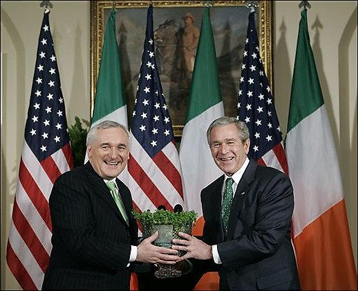 [Bush+and+Ahern+shamrocks]