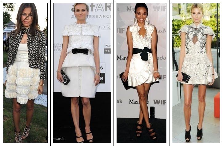 vestido branco com preto