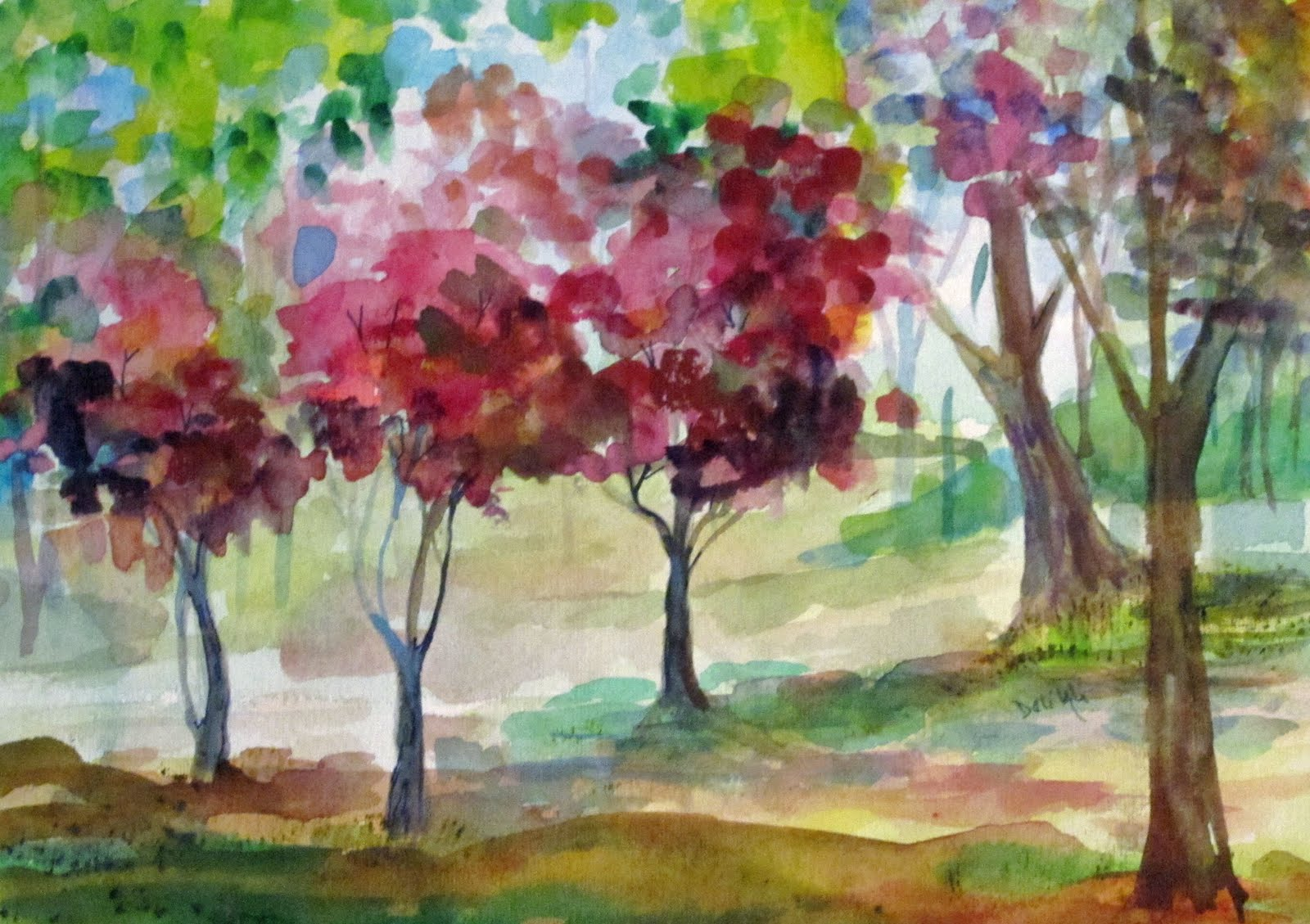art on paper pink trees in the spring watercolor watercolor paintings of trees 1600x1129