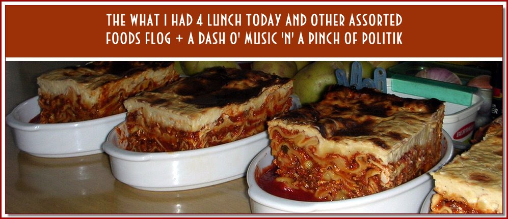 the what i had 4 lunch today + other assorted foods flog + a dash o' music 'n' a pinch o' politik