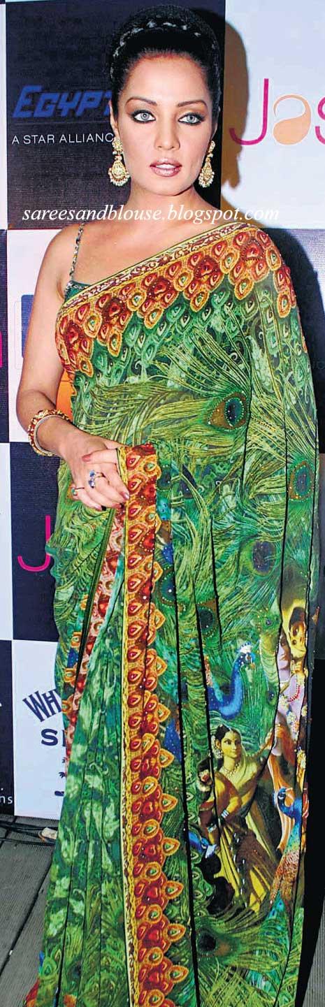 celina jaitley saree. Celina Jaitley in a Green Sari