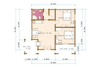 Progetti di case in legno casa 60 mq terrazza coperta 10 mq - Planimetria casa 60 mq ...