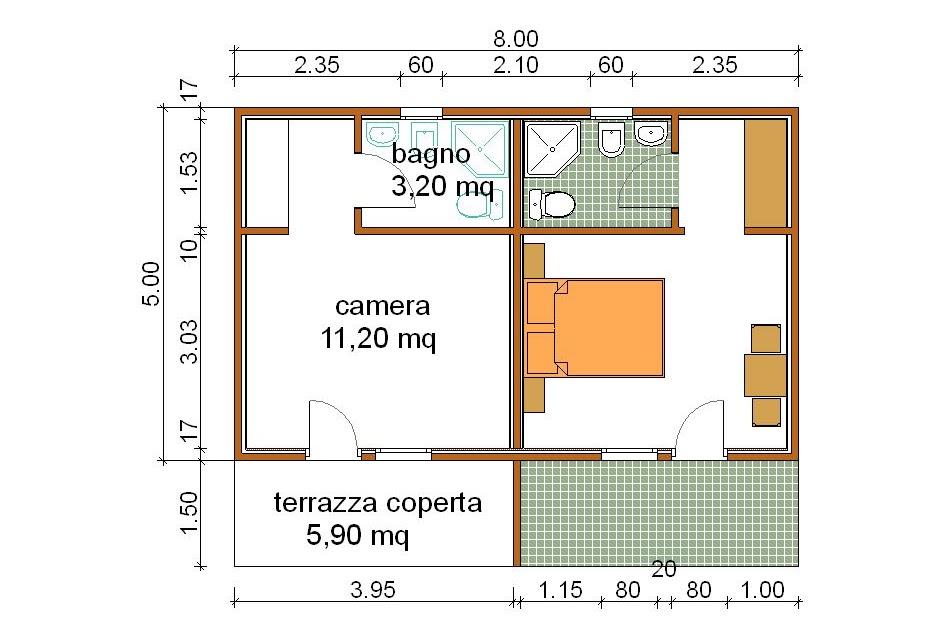 Progetti di case in legno casetta doppio bungalow 20 mq for Progetti di piani portico proiettati