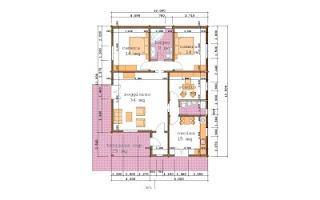Progetti di case in legno casa 125 mq terrazza coperta for Progetti contemporanei di case a pianta aperta