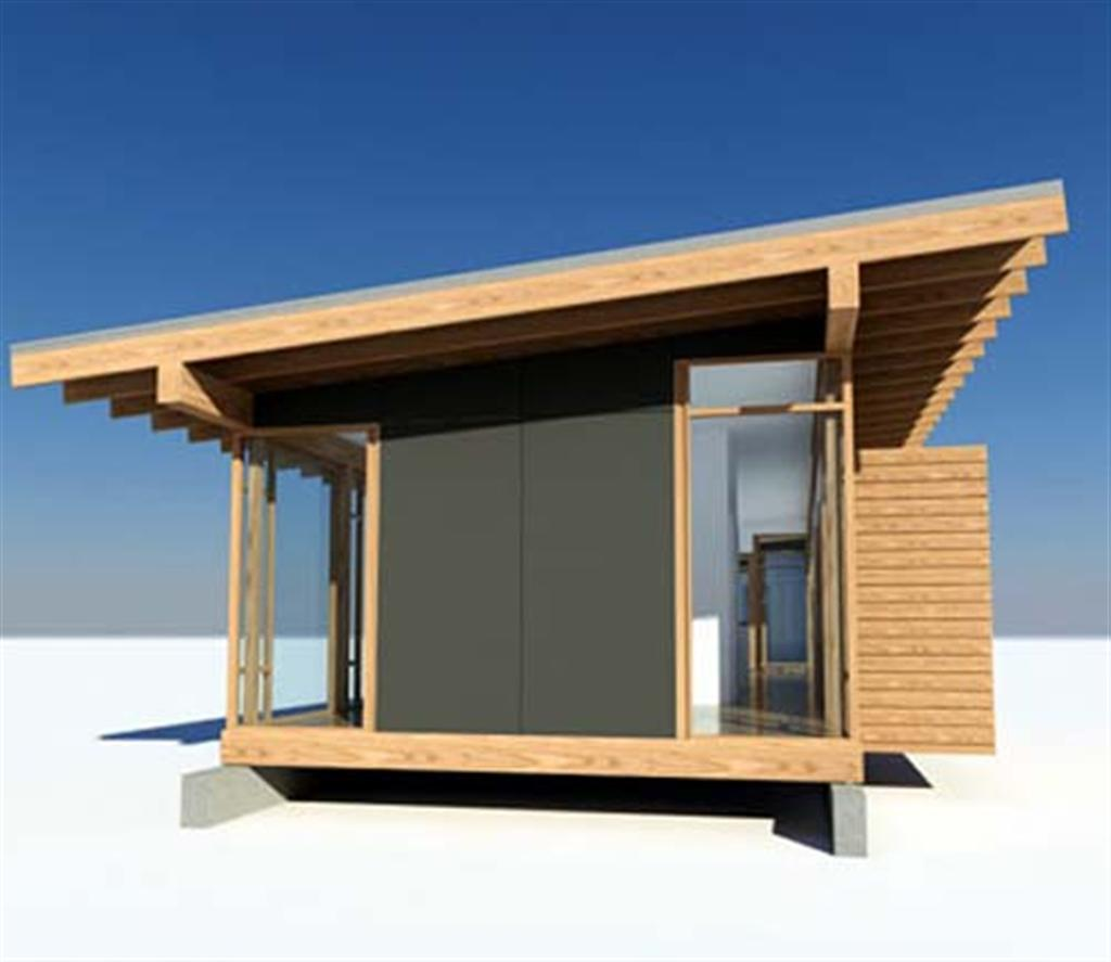 Glass and wood small house design by vandeventer for Small house design made of wood