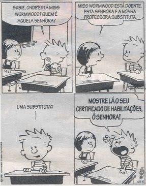 Calvin pede o certificado de habilitações à nova professora