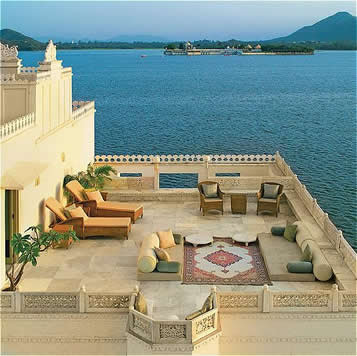Open rest room at Taj Lake Palace