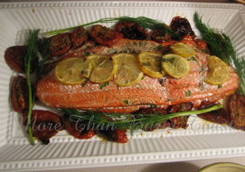 more than burnt toast: A Recipe for Baked Herb-Stuffed Salmon