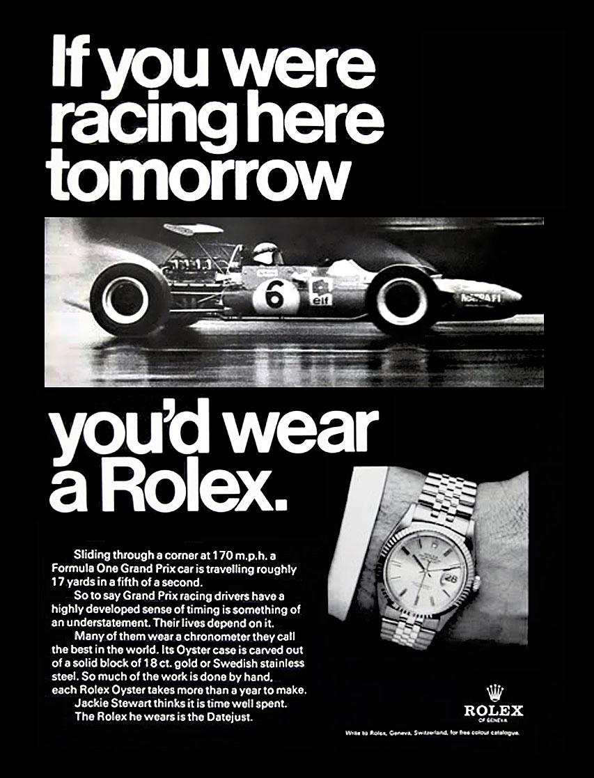 Una cesta llena de Rolex Jackie-Stewart-Rolex-Racing-Ad
