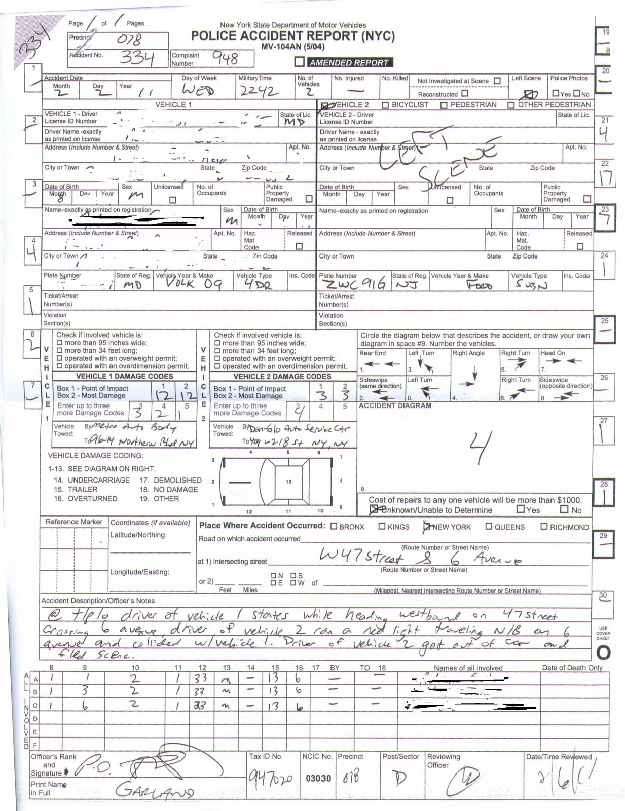 Hertz Car Rental Accident Report