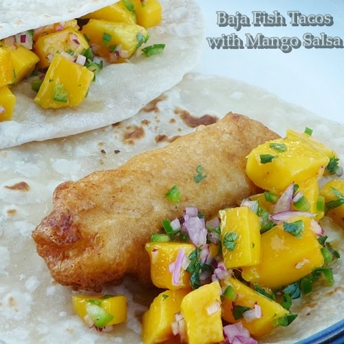 Baja fish tacos with mango salsa grumpy 39 s honey bunch for Fish tacos with mango salsa