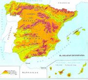 . las comunidades autónomas y las provincias de España. (relieve )