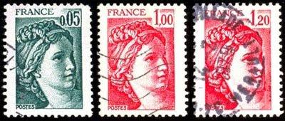 Las sabinas de David Valor de los sellos: 0,05 - 1,00 y 1,20fr