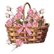 Um cestinho de rosas para todas as minhas visitas